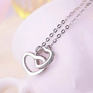 Double Heart Sterling Silver Cubic Z. Necklace